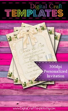 Personalized Printable Invitations   Rose Lace   Save the Date   Wedding    #109