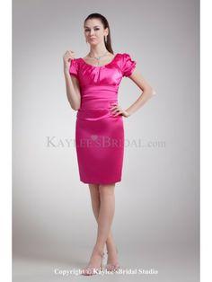 Satin Scoop Neckline Short Sheath Cocktail Dress