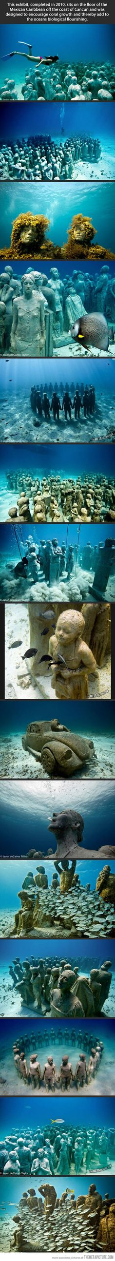 Amazing underwater museum…I saw this on Sunday Morning with Charles Corolt. It's used like a reef for the wildlife.