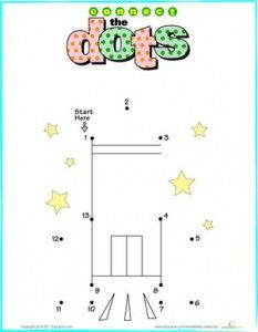Kindergarten Dot-to-Dots Counting Numbers Worksheets: Connect the Dots: Rocket Space Activities, Preschool Learning Activities, Preschool Math, Toddler Learning, Preschool Ideas, Kindergarten Math Worksheets, Worksheets For Kids, Homeschool Kindergarten, Homeschooling