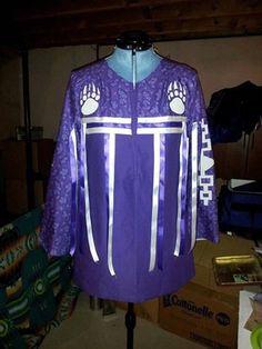 Purple and White Native American Haudenosaunee Ribbon Shirt with Hiawatha wampum belt and bear paws Native American Clothing, Native American Regalia, Native American Beadwork, Cherokee Clothing, Native Beadwork, Jingle Dress, Diy Wedding Dress, Wedding Ideas, Ribbon Skirts