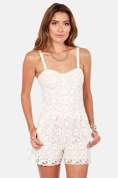 Women's #Fashion #Clothing:  In the Shade Blush Pink and White Lace Romper: Rompers