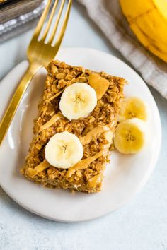 This delicious peanut butter banana baked oatmeal features the best oatmeal combo ever — peanut butter and banana. You'll love prepping this easy baked oatmeal for the week. One of my favorite oatmeal recipes to [. Peanut Butter Roll, Peanut Butter Oatmeal, Natural Peanut Butter, Best Oatmeal, Baked Oatmeal, Baked Oats, Baked Banana, What Is Healthy Food, Healthy Eating
