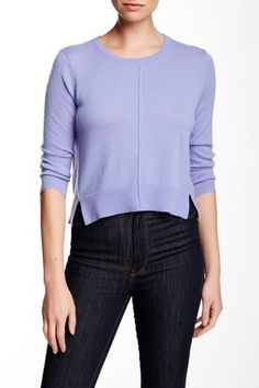 Perforated  Side  Cropped  Cashmere  Sweater