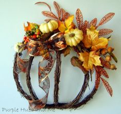 Grapevine Garland Pumpkin Wreath