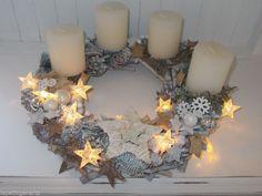 Adventkranz Sterne Lichterkette Kranz Weihnachten Shabby Kugeln Kerzen