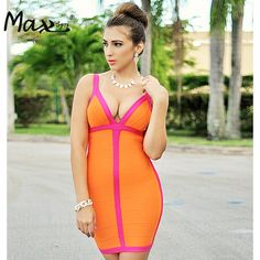 Max Spri  2017 New Women Sexy Spaghetti Strap V Neck Bandage Dress Orange Club Dress Summer Wholesale