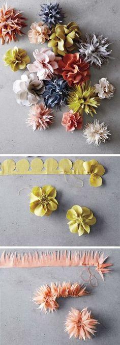 オーガンジーやガーゼ生などの薄い生地を細長くカットし、丸やトゲトゲの形に切り抜きます。根元の部分を粗めに並縫いしてから絞ると、立体的な花の形に。裏にブローチピンを付ければおしゃれな花のブローチになります。