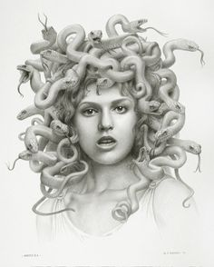 Well, I suppose Medusa is a natural next step into playing with feminine forms and snake forms. Medusa, the evil snake-witch.Creepy, spittin' image of someone from eons past. Medusa Snake, Medusa Art, Medusa Gorgon, Medusa Tattoo, Snake Art, Medusa Head, Medusa Drawing, Medusa Painting, Greek Monsters
