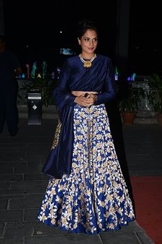 Richa Chadda in a beautiful lehenga. Check it out on: http://www.vogue.in/content/bollywood-tulsi-kumar-wedding-reception#5