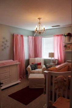 adorable gray and pink nursery.