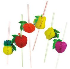 Put the lime in the coconut and drink it all up with these fun and festive Tropical Fruit Party Straws. Sip Piña Coladas in style. > 12 straws per package