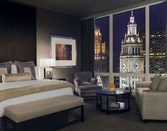 Chicago, Illinois, United States, North America: guest room with a city view at the Trump International Hotel & Tower in Chicago,