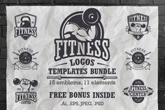 Posted by @newkoko2020 Set of vintage fitness logo template by VectorPot on @creativemarket