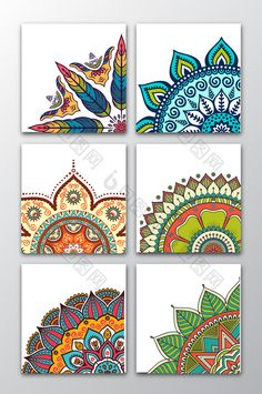 6 vector ethnic floral patterns. #pikbest #background #design #free #download #printable Mandala Art Lesson, Mandala Artwork, Mandala Painting, Doodle Art Drawing, Mandala Drawing, Art Drawings, Mandala Doodle, Wall Drawing, Mandala Design