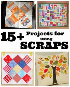Lots of ideas for sorting, storing and using your fabric scraps. Lists of projects and tutorials to make with fabric scraps.