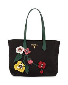 New V37M8 Prada Tessuto Medium Flowers Shopping Tote Bag @ Price $1360 At:Neiman Marcus