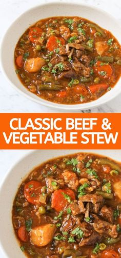This old fashioned, slow cooked beef & vegetable stew is easy to prepare. It's rich, hearty & flavourful, & the beef is so tender. A winter warmer. Top Recipes, Brunch Recipes, Beef Recipes, Cooking Recipes, Brunch Ideas, Chilli Recipes, Delicious Recipes, Dinner Ideas, Kebabs