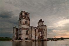 Vologda oblast, Russia flooded church