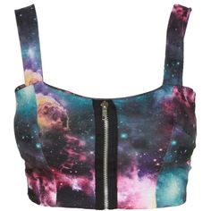 Purple Galaxy Print Zip Front Bralet Top (20 CAD) ❤ liked on Polyvore featuring tops, shirts, crop tops, bralets, galaxy shirt, purple shirt, bralette crop top, shirt crop top and cosmic shirt