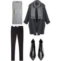 Black + grey by trendsy on Polyvore featuring moda, Acne Studios and DK