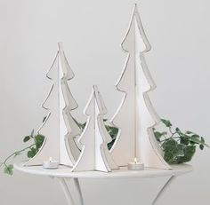 Set Of Three Wooden Christmas Trees