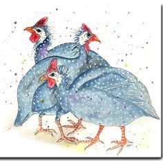Fun illustration of Guinea Fowl printed on high quality card 145x145mm, Individually wrapped in a cello bag with white textured envelope.