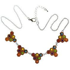 A bunting pencil necklace made from recycled coloured pencils!