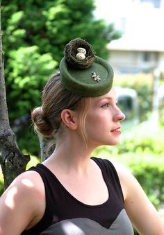 Nest Egg forest green percher hat with bird by AkaTomboMillinery