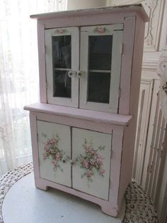 OMG ORIGINAL Christie REPASY PAINTING PINK ROSES on OLD Vintage CHILD'S CABINET