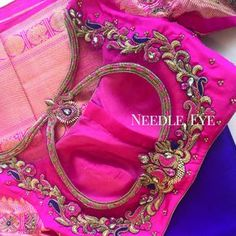 NEEDLE EYE Bright colors like this always uplifts our mood. Beautiful pink color designer blouse with hand embroidery peacock design thread work. Cutwork Blouse Designs, Pattu Saree Blouse Designs, Embroidery Neck Designs, Fancy Blouse Designs, Bridal Blouse Designs, Blouse Neck Designs, Hand Embroidery, Tambour Embroidery, Hand Work Blouse Design