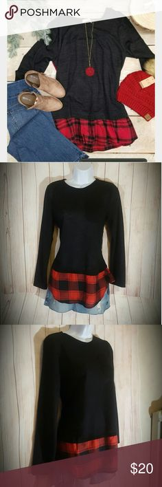 "Buffalo Plaid Black Sweater Layer Long Sleeve Red Get the layered look of 2 shirts, the comfort of one! I get hot and stuffy wearing layers. Thin & lightweight sweater with an attached Buffalo plaid layer at the bottom. Brand: Laugh Out Loud. Size large. New with tags. High-low curved hemline, longer in the middle than the sides. Stretchy to fit most sizes. Laying flat and unstretched, it measures 17"" across the chest, 26"" long on the side, 29"" long in the middle.   Smoke free home. Free…"