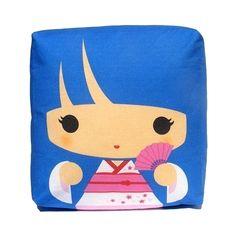 Mini Pillow - Geisha Mizuko (Blue). $18.00, via Etsy.
