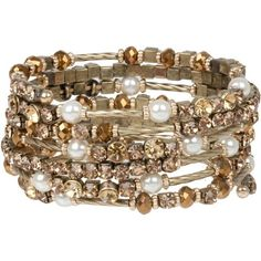 Heirloom Finds Exquisite Bronze Topaz Crystal and Faux Pearl Wrap Bracelet