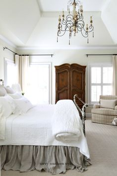 Savvy Southern Style : The Brighter Master Bedroom Reveal Savvy Southern Style : The Brighter Master Bedroom Reveal Home Bedroom, Modern Bedroom, Bedroom Furniture, Bedroom Decor, Contemporary Bedroom, Bedroom Ideas, Bedroom Designs, Summer Bedroom, Budget Bedroom