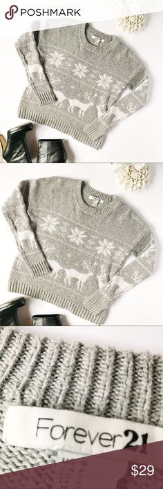 Forever 21 Snowflake Reindeer Sweater Just the cutest sweatshirt for Christmas time! The shirt has a nice stretch to it. It appears to be running a little small. Please see measurements for accuracy. L 23. W 17. Stock 141 –150 Forever 21 Sweaters