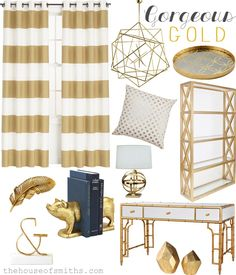 Gorgeous gold accents. How to incorporate the trend into your home decor from The House of Smiths. Love the gold striped curtains, polka dot throw pillow, geometric pendant light, and gold & glass bookcase.