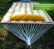 """59"""" Yellow and White Hammock with pillow"""