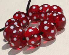 Lampwork Glass Beads Set of 10   Claret от GlassNatalyaDarlin