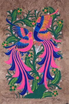 amate bird painting: pink, blue & green | large | $20 USD | created by Rodolfo