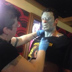 "Digging in to the meat of our ""hero"" #zombie makeup in honor of the Mile High Horror Film Festival! Our model is the always-amazing #Denver actor, Jesse Phillips!"