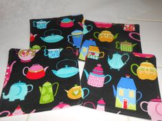 Teapot Coaster Set Teapot Fabric Coasters Set by ColdStreamCrafts