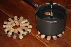 Wine Cork Trivet with beads