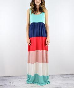 Love this Mint & Navy Color Block Maxi Dress on #zulily! #zulilyfinds