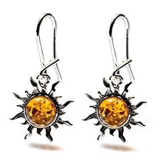Certified Genuine Amber Sterling Silver Romantic Flaming Sun Small Earrings  http://electmejewellery.com/jewelry/earrings/certified-genuine-amber-sterling-silver-romantic-flaming-sun-small-earrings-com/