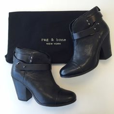 Rag and Bone Black Harrow Booties 37.5, leather, still in good condition. Small scratches but only noticeable when up front. No box but dust bag included. Fits like a size 7 rag & bone Shoes Ankle Boots & Booties