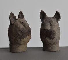 Chats / Cats - H : 14 cm Animal Sculptures, Lion Sculpture, Pottery, Statue, Portrait, Animals, Log Projects, Terracotta, Cow