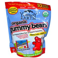 Organics Gummy Bears.  YummyEarth was born out of our commitment to feed our children, Jonah, Rose, Leo & Moises, a diet rich in delicious organic foods that are free of yucky chemicals, pesticides & dyes. YummyEarth tastes much better than mass produced chemical candy because we choose real fruit extracts and planet friendly organic ingredients to sweeten our lives and yours.