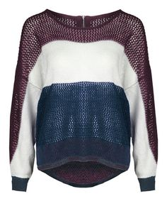 Another great find on #zulily! Navy & Wineberry Mélange Mesh-Knit Hi-Low Sweater by Dex #zulilyfinds