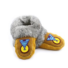Size 9 - Men's Moose Hide and Grey Rabbit Fur Moccasins - With Beaded Teepee Design (Black, Red, Yellow, Blue, Turquoise) - Kitigan #rockyourmocs #mocmonday #moccasins #handmade #ooak #ootd #native #art